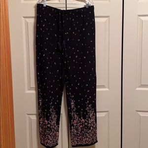 Floral lounge pull on pants size XL Reg